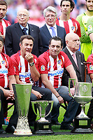Atletico de Madrid's President Enrique Cerezo, Tiago Mendes and the legends Abel Resino and Paolo Futre during La Liga match. May 21,2017. (ALTERPHOTOS/Acero)