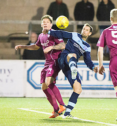 Arbroath's Ricky Little and Forfar Athletic's Gavin Swankie. Forfar Athletic 0 v 1 Arbroath, Scottish Football League Division Two game played 10/12/2016 at Station Park.