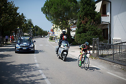 Scotti Lechuga (USA) of Hagens-Berman Supermint Cycling Team tries to break away during the Giro Rosa 2016 - Stage 3. A 120 km road race from Montagnana to Lendinara, Italy on July 4th 2016.