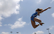 Dominique Beltrez of UCLA places sixth in the women's long jump at 18-0 1/2 (5.50m) during a collegiate dual meet against Southern California at Drake Stadium in Los Angeles, Sunday, April 29, 2018.