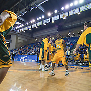 02/01/12 Newark DE: George Mason Senior Guard Andre Cornelius #45 is introduced to the crowed prior to the start of a Colonial Athletic Association conference Basketball Game against Delaware Wed, Feb. 1, 2012 at the Bob Carpenter Center in Newark Delaware.