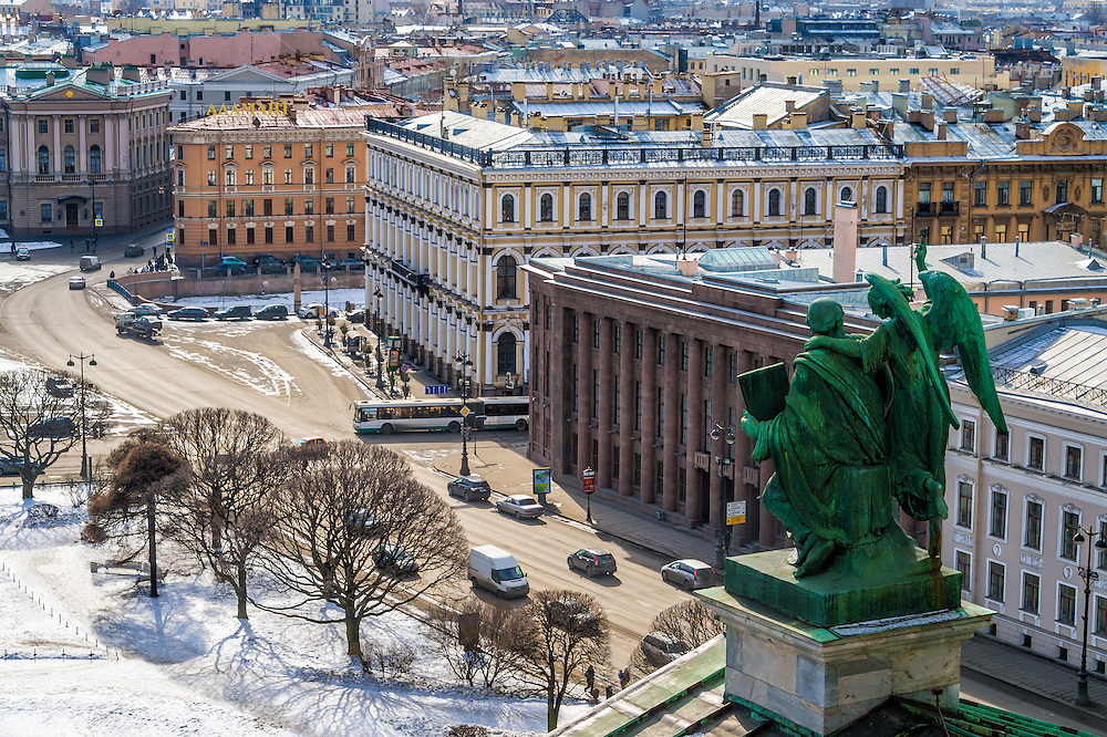 ST. PETERSBURG - CIRCA MARCH 2013: Aerial view of Saint Petersburg from Saint Isaac's Cathedral March 2013. The city is a popular tourist destination with 221 museums, 2000 libraries, and 80  plus theaters within the city.