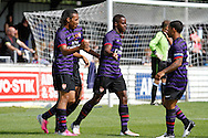 Picture by David Horn/Focus Images Ltd. 07545 970036.04/08/12.Arsenal players celebrate scoring during a friendly match at The Meadow, Chesham.