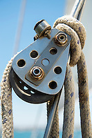 Close-up of boat's block and tackle