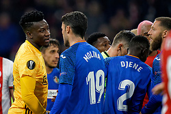 Andre Onana #24 of Ajax and Jorge Molina #19 of Getafe in action during the Europa League match R32 second leg between Ajax and Getafe at Johan Cruyff Arena on February 27, 2020 in Amsterdam, Netherlands