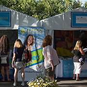 August 19, 2014, New Haven, CT:<br /> Booths are shown on day five of the 2014 Connecticut Open at the Yale University Tennis Center in New Haven, Connecticut Tuesday, August 19, 2014.<br /> (Photo by Billie Weiss/Connecticut Open)