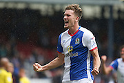 Sam Gallagher of Blackburn Rovers celebrates scoring the third goal of the game to make it 2-1 during the EFL Sky Bet Championship match between Blackburn Rovers and Burton Albion at Ewood Park, Blackburn, England on 20 August 2016. Photo by Simon Brady.