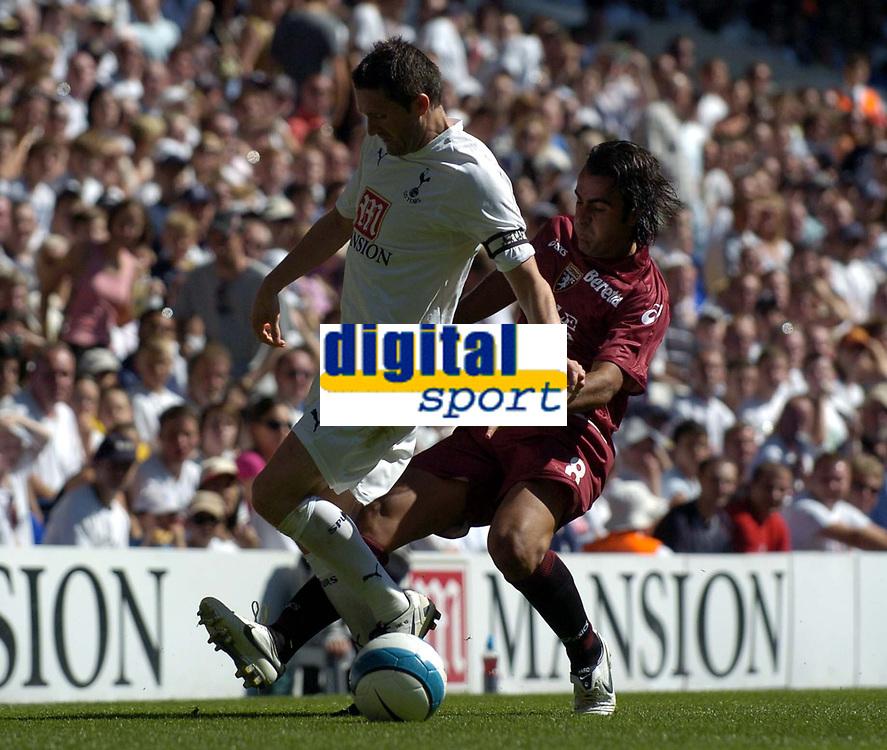 Photo: Olly Greenwood.<br />Tottenham Hotspur v Torino. Pre Season Friendly. 04/08/2007. Robbie Keane and Simone Barone