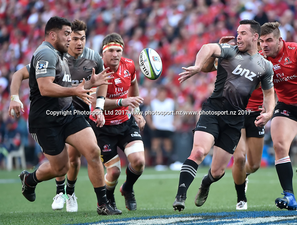 Lions v Crusaders. Ryan Crotty of the Crusaders puts Codie Taylor of the Crusaders in a gap during the 2017 Super Rugby Final match at Ellis Park, Johannesburg, 05 August 2017. <br /> <br /> &copy; Anton de Villiers / www.photosport.nz / www.photosport.nz