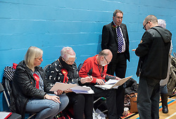 © Licensed to London News Pictures. 13/12/2019. Stroud, Gloucestershire, UK. General Election 2019; DAVID DREW (in purple stripe tie), Labour candidate, at the election count for the Stroud constituency which is a tight marginal seat between Labour and the Conservatives. At the last parliamentary election in 2017 the winning majority for the Labour candidate David Drew was 687. Photo credit: Simon Chapman/LNP.