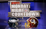 The helmets of the competing teams face off on the set of ESPN Monday Night Countdown prior to the Washington Redskins the NFL week 10 football game against the Philadelphia Eagles on Monday, November 15, 2010 in Landover, Maryland. The Eagles won the game 59-28. (©Paul Anthony Spinelli)