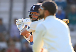England's Sam Curran hits four runs during day three of the fourth test at the AGEAS Bowl, Southampton.