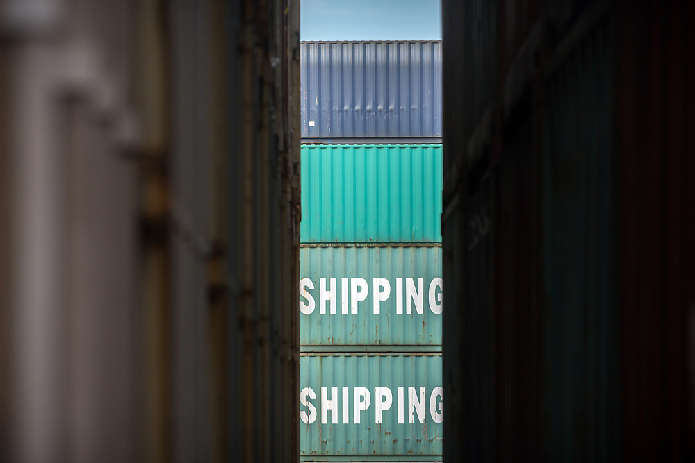 HOLD FOR JENNY KANE** In this July, 5, 2018 photo, a stack of China Shipping containers, Thursday, July 5, 2018, at the Port of Savannah in Savannah, Ga. The U.S. hiked tariffs on Chinese imports Friday and Beijing said it immediately retaliated in a dispute between the world's two biggest economies. (AP Photo/Stephen B. Morton)