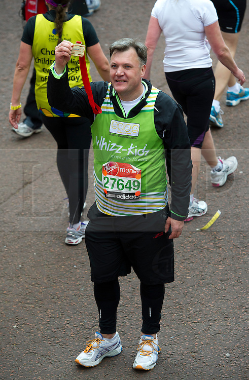 © London News Pictures. 22/04/2012. London, UK. Labour MP Ed Balls after crossing the finnish line at the 2012 Virgin London Marathon in London on April 22, 2012. Photo credit : Ben Cawthra /LNP