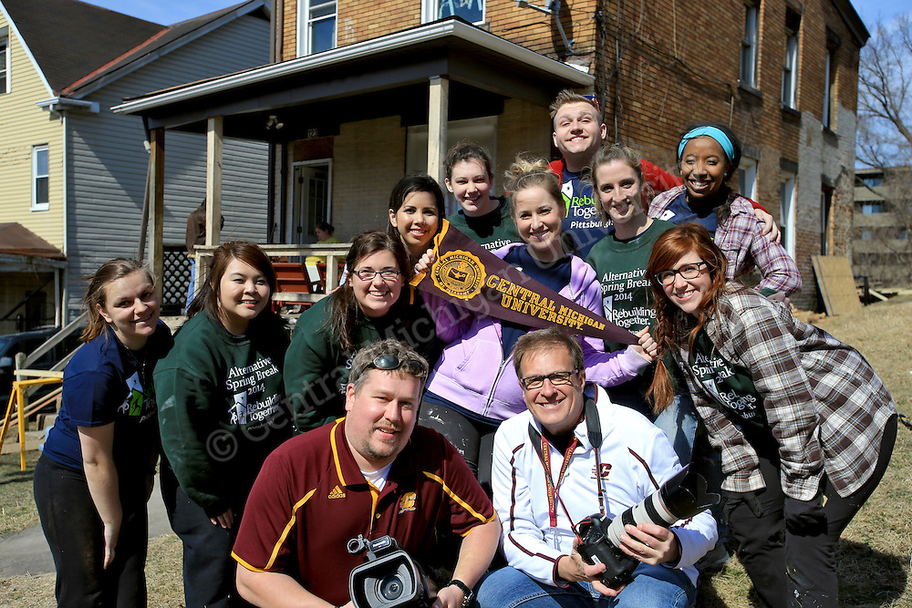 Ten Central Michigan University students spent their Alternative Break week volunteering with Rebuilding Together, an urban renewal experience, in Pittsburgh, PA. Their urban renewal experience gave them hands on experience working on homes and making repairs. Photo by Steve Jessmore/Central Michigan University
