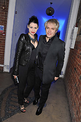 NICK RHODES and NEFER SUVIO at a party to celebrate the publication of Joseph Anton by Sir Salman Rushdie held at The Collection, 264 Brompton Road, London SW3 on 14th September 2012.