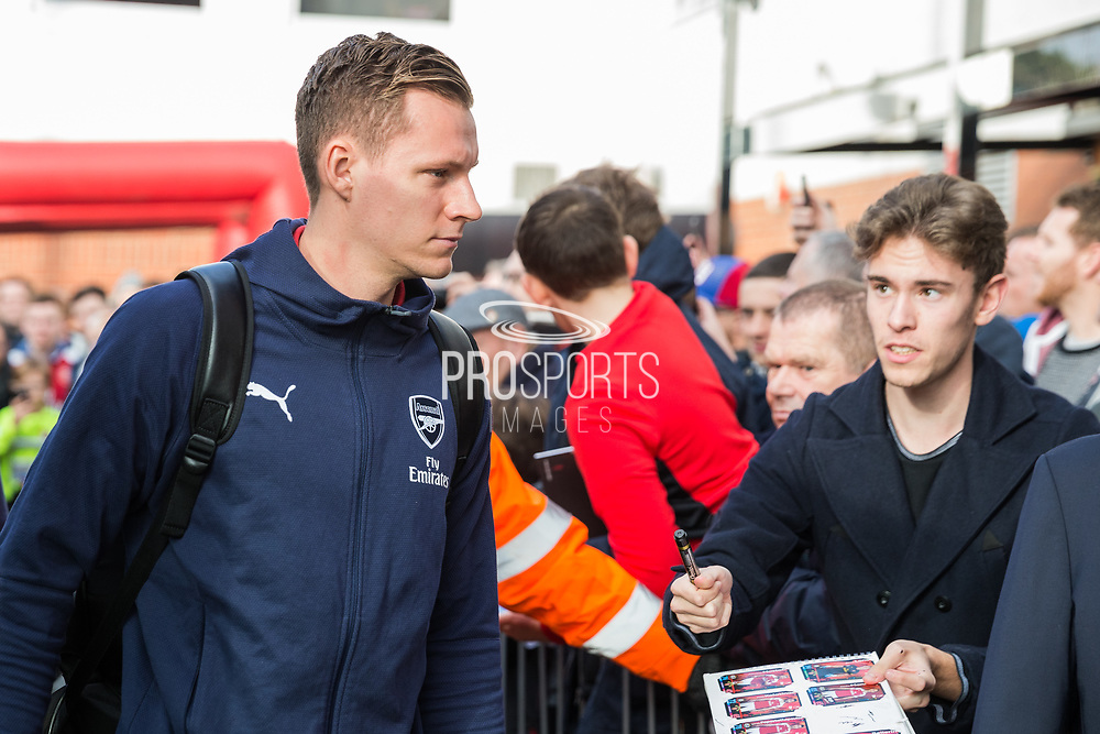 Bernd Leno (GK) (Arsenal) arriving at the stadium ahead of the Premier League match between Bournemouth and Arsenal at the Vitality Stadium, Bournemouth, England on 25 November 2018.