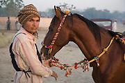 Endurance rider before a race at the Mallinath Fair at Tilwara near Balotra, Rajasthan, India