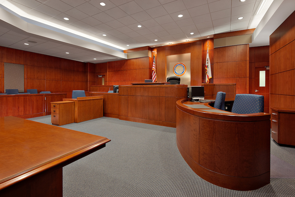 Interior of a Solano County Superior Court room. Photographed for Nacht and Lewis Architects, and Bullard Construction. Fairfeild, CA.