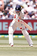 Mark Stoneman plays a backfoot shot during the Magellan fourth test match between Australia v England at  the Melbourne Cricket Ground, Melbourne, Australia on 26 December 2017. Photo by Mark  Witte.