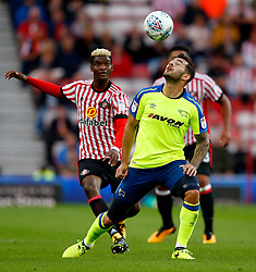 `Bradley Johnson of Derby County wins a header - Mandatory by-line: Matt McNulty/JMP - 04/08/2017 - FOOTBALL - Stadium of Light - Sunderland, England - Sunderland v Derby County - Sky Bet Championship