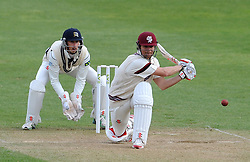 Somerset's James Hildreth flicks the ball. - Photo mandatory by-line: Harry Trump/JMP - Mobile: 07966 386802 - 28/04/15 - SPORT - CRICKET - LVCC Division One - County Championship - Somerset v Middlesex - Day 3 - The County Ground, Taunton, England.