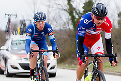 Daniel Crista of Tusnad Cycling Team and Kristjan Fajt of KK Adria Mobil during the 158km long 1st stage from Porec to Labin at 13th Istrian Spring Trophy on March 11, 2016, Croatia. Photo by Urban Urbanc / Sportida