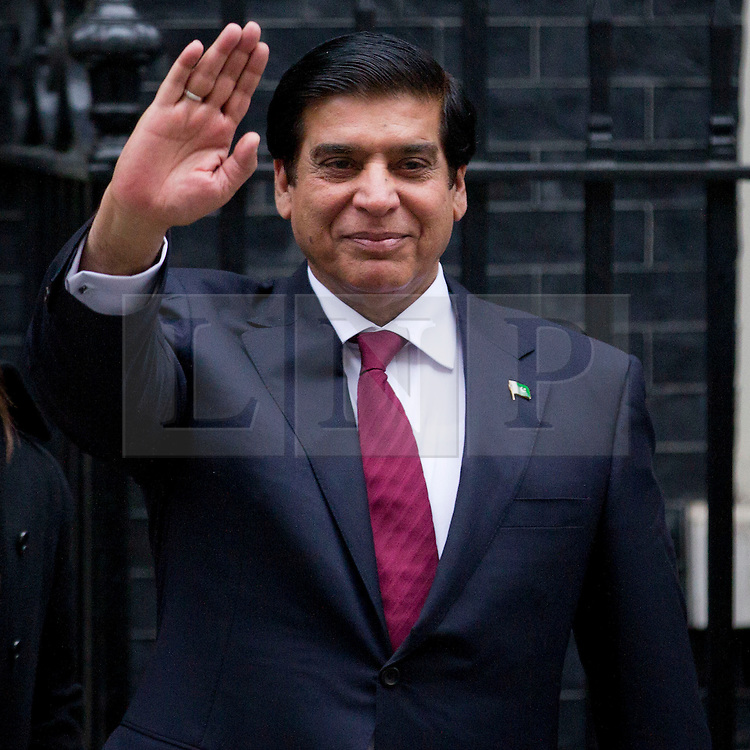 © Licensed to London News Pictures. 12/02/2013. London, UK. The Pakistani Prime Minister Raja Pervaiz Ashraf is seen leaving Number 10 Downing Street after meeting with the British Prime Minister David Cameron in London today (12/02/2013). Photo credit: Matt Cetti-Roberts/LNP