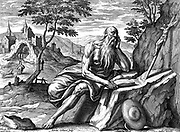 St Jerome (c342-420) Eusebius Sophronius Hieronymus: Leading father of the Christian church. Prepared first Latin translation of the Bible from Hebrew (Vulgate). Engraving by Adrian Collaert (c1520-1667).