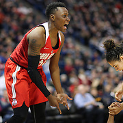 HARTFORD, CONNECTICUT- DECEMBER 19: Shayla Cooper #32 of the Ohio State Buckeyes reacts after committing an offensive foul during the UConn Huskies Vs Ohio State Buckeyes, NCAA Women's Basketball game on December 19th, 2016 at the XL Center, Hartford, Connecticut (Photo by Tim Clayton/Corbis via Getty Images)