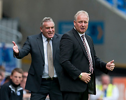 CARDIFF, WALES - Sunday, August 8, 2010: Sheffield United's manager Kevin Blackwell and Cardiff City's manager Dave Jones during the League Championship match at the Cardiff City Stadium. (Pic by: David Rawcliffe/Propaganda)