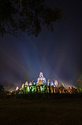 Bayon Temple is lit up for the Khmer New Year in Cambodia