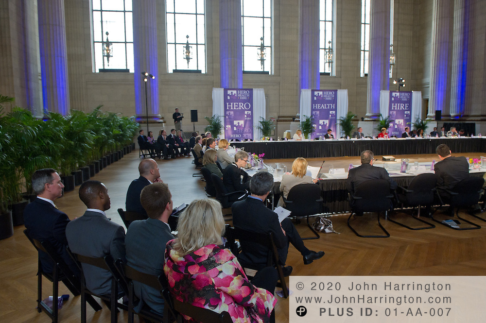 """The participants in the Hero Health Hire Initiative Summit gathered at the Andrew W. Mellon Auditorium in Washington, DC on June 22nd, 2011, uniting business and government leaders to discuss the difficulties surrounding """"Wounded Warrior"""" employment."""