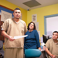 After recieving his certificate of completion Randell Benally speaks at a graduation breakfast for the substance abuse treatment program at the McKinley County Adult Detention Center, Thursday, Jan. 3, 2019 in Gallup.