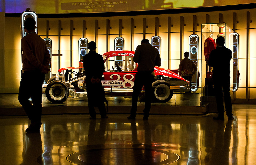 Silhouette of visitors at The Nascar Museum in Charlotte, North Carolina.