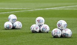 A general view of Mitre match balls during the match at Meadow Lane, Nottingham.