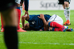 Corentin Jean of France lying on the ground after crash with Marc Oliver Kempf of Germany during the UEFA European Under-17 Championship Group A match between Germany and France on May 10, 2012 in SRC Stozice, Ljubljana, Slovenia. Germany defeated France 3:0. (Photo by Matic Klansek Velej / Sportida.com)