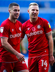 Andi Weimann and Tommy Rowe of Bristol City celebrate beating Cardiff City - Mandatory by-line: Robbie Stephenson/JMP - 10/11/2019 -  FOOTBALL - Cardiff City Stadium - Cardiff, Wales -  Cardiff City v Bristol City - Sky Bet Championship