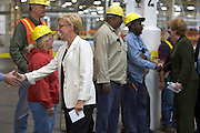 Michigan Governor Jennifer Granholm greets skilled trades workers who have been retooling the assembly line for the 2011 production launch of the Buick Verano at General Motors Orion Assembly Plant in Orion Township, MI, Thursday, October 7, 2010. (Jeffrey Sauger)
