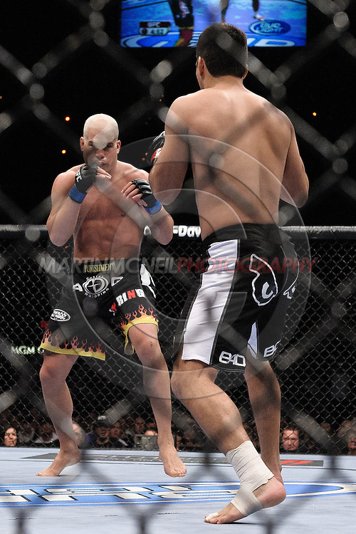 "LAS VEGAS, NEVADA, MAY 24, 2008: Tito Ortiz (facing) and Lyoto Machida during ""UFC 84: Ill Will"" inside the MGM Grand Garden Arena in Las Vegas"