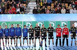 Team of Rhein Neckar before the 1st Main round of EHL Champions League match between RK Celje Pivovarna Lasko (SLO) and Rhein Neckar Lowen (GER), on February 14, 2009, in Arena Zlatorog, Celje, Slovenia. Rhein Neckar Lowen won 34:28.  (Photo by Vid Ponikvar / Sportida)