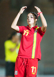 LLANELLI, WALES - Saturday, September 15, 2012: Wales' Gwennan Harries looks dejected as his side lose 2-1 to Scotland during the UEFA Women's Euro 2013 Qualifying Group 4 match at Parc y Scarlets. (Pic by David Rawcliffe/Propaganda)