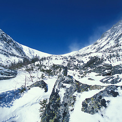 "The bowl in Tuckerman Ravine as seen from the top of the ""Little Headwall.""  White Mountain National Forest.  Mount Washington. Mt. Washington, NH"