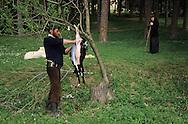Romania. Dragormina Monastery sacrifice of lamb for easter         / sacrifice agneau de p?ques  sacrifice agneau pascal/ monastere   Dragormina  Roumanie