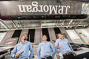 Quadruple Olympic gold medalist; Sir Ben Ainslie (L) does a Q&A  alongside his America's Cup,  J.P. Morgan Bar AC45 Catamaran at the London Boat Show  Here with his crew - Paul Goodison and Matt Cornwell (R). Excel, London, UK  8 January 2014 Guy Bell, 07771 786236, guy@gbphotos.com