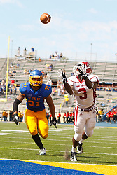 September 24, 2011; San Jose, CA, USA; New Mexico State Aggies running back Kenny Turner (3) catches a pass for a touchdown past San Jose State Spartans linebacker Keith Smith (31) during the second quarter at Spartan Stadium. San Jose State defeated New Mexico State 34-24.