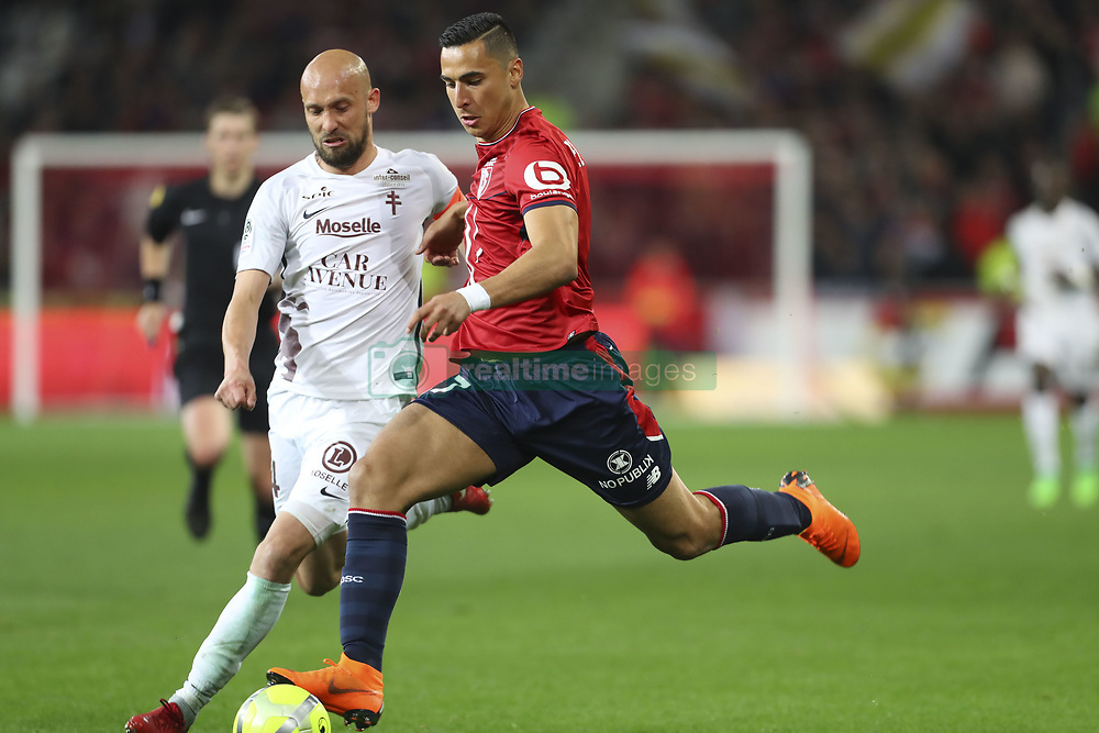 April 28, 2018 - Villeneuve D Ascq, France - Renaud Cohade (Metz) vs Anwar El Ghazi  (Credit Image: © Panoramic via ZUMA Press)