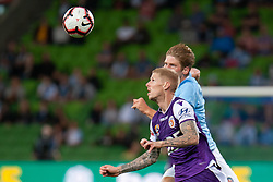 January 19, 2019 - Melbourne, VIC, U.S. - MELBOURNE, VIC - JANUARY 19: Perth Glory forward Andy Keogh (9) focuses his eyes on the ball at the Hyundai A-League Round 14 soccer match between Melbourne City FC and Perth Glory on January 19, 2019, at AAMI Park in VIC, Australia. (Photo by Speed Media/Icon Sportswire) (Credit Image: © Speed Media/Icon SMI via ZUMA Press)