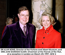 DR ALAN BORG, Director of the Victoria and Albert Museum, and MRS JANE GORDON CLARK, Chairman of the Friends of the V&A, at a reception in London on March 4th 1997.LWW 4