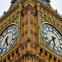 Big Ben Close Up at Palace of Westminster in London, England <br />